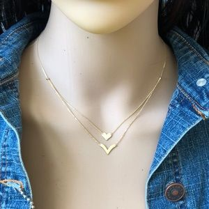 NEW 14K Solid Gold Layer Duo Heart & V Necklace